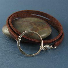 halo circle leather wrap bracelet