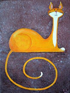 Fantasy original chat peinture à vendre « Fier chat en or »
