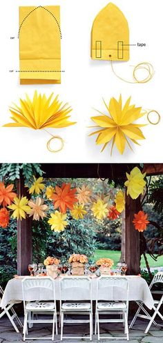 DIY hanging paper flowers- cute for bridal or baby shower