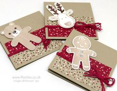 Stampin' Up! Demonstrator Pootles - Cookie Cutter 3 x 3 Cards  Candy Cane Paper