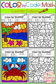 There are 20 pages of color by math worksheets in this product. These pages are fun and effective way to learn number, counting, addition and subtraction. These pages are perfect for pre-k, kindergarten or first grade students. You can use as classroom activities, morning work, homework, word work and math centers. Summer Color by Code | Color by Number | Color by Number Sense | Color by Counting | Color by Addition | Color by Subtraction | Homework | Morning Work | Worksheets | Math Centers First Grade Worksheets, Math Worksheets, Math Stations, Math Centers, Kindergarten Math Activities, Teaching First Grade, Little Learners, Number Sense, Morning Work