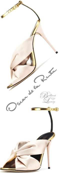 Brilliant Luxury ♦ Oscar de la Renta 'Angelica' Bisque Satin & Specchio Sandals