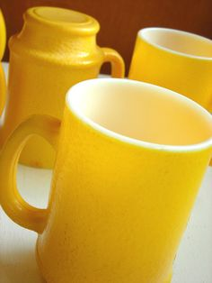 Vintage Coffee Mugs  Milk Glass Lemon Yellow by HippopoVintage, $20.00