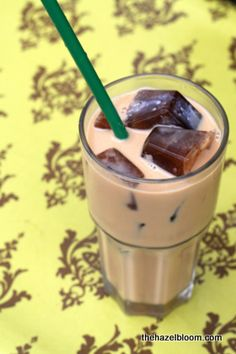 Freeze coffee in an ice cube tray over night and put about 5 cubes in a cup of vanilla almond milk.