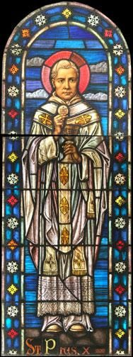 Antique Saint Pius X Church Stained Glass Window DESCRIPTION: Antique Saint Pius X stained glass window from a Catholic church in Elizabeth, NJ. These windows are extremely high quality and are of the traditional Munich style.