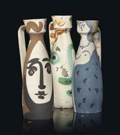 'Visage' (1969) partially glazed ceramic pitchers by Pablo Picasso