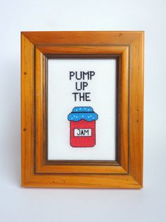 Pump Up The Jam Cross Stitch  Finished Cross Stitch by Quirkorium, $30.00