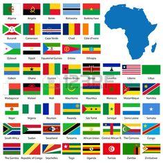 Szczegółowe Afryki i flagi mapę ręcznie drogi z publiczną mapie Zdjęcie Seryjne