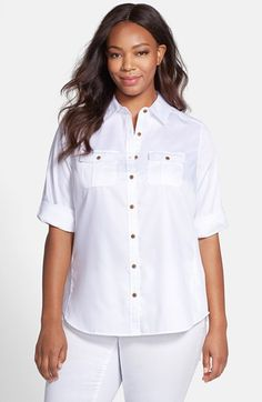Foxcroft Roll Sleeve Shirt (Plus Size) available at #Nordstrom