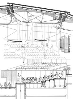 Renzo piano building workshop - projects - by type - parco della Auditorium Architecture, Theater Architecture, Architecture Design, Auditorium Design, Architecture Drawings, Architecture Diagrams, Architecture Portfolio, Renzo Piano, Section Drawing