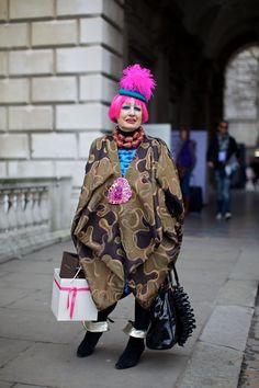 Zandra Rhodes outside Somerset House at London Fashion Week, February 2012. Photographer: Marcus Dawes  Pinned from PinTo for iPad 