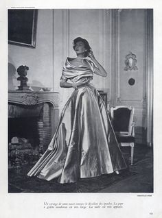 Christian Dior 1948 Photo Jean-Louis Moussempès, Evening Gown