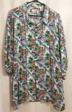 Monticerutti Hawaiian Shirt Men's 3X Short Sleeve Water Palm Trees Waves  #Monticerutti #Hawaiian