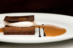 Chocolate Custard Brownie with Roasted Cinnamon Cream, Espresso Granite, and Liquid Sable Sauce