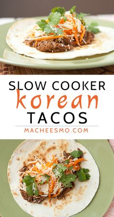 Slow Cooker Korean Beef Tacos - Authentic Korean Bulgogi tacos made in the slow cooker and topped with a delicious homemade slaw! via Macheesmo