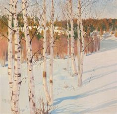 """art-and-things-of-beauty: """" Helmi Ahlman Biese - Winter Forest, oil on canvas, 71 x cm. Helene Schjerfbeck, Chur, Oil Paint Set, Country Art, North Country, Winter Painting, Winter Light, Landscape Paintings, Oil On Canvas"""