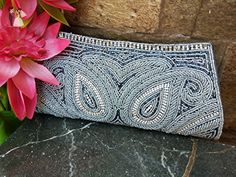 Gray Bead Wallet | rhinestone sequin grey clutch bag | prom party clutch | Handmade in India - Bridal handbags (*Amazon Partner-Link)