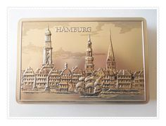 City of Hamburg, TIN STORAGE BOX Silver and Black - Made in Germany Skyline Embossed Metal. $9.95, via Etsy.