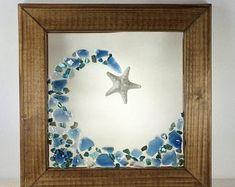 Sea Glass Crafts, Sea Glass Art, Stained Glass Art, Mosaic Glass, Mosaic Art, L'art Du Vitrail, Art Pierre, Seashell Art, Beach Art