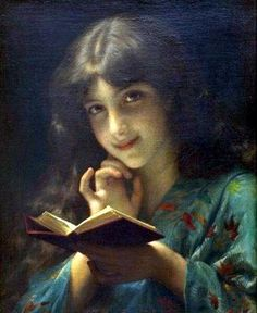 Etienne Adolphe Piot - Young Girl Reading A Book