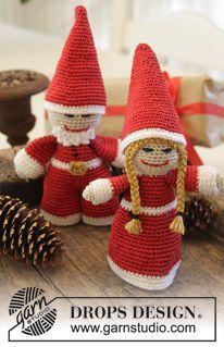 "Meet The Kringles - Natale DROPS: Babbo Natale maschio e femmina, all'uncinetto, in ""Cotton Viscose"". - Free pattern by DROPS Design Crochet Christmas Decorations, Christmas Crochet Patterns, Holiday Crochet, Christmas Ornaments To Make, Christmas Crafts, Crochet Santa, Crochet Snowman, Crochet Dolls, Free Crochet"