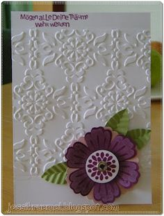Mixed Bunch - Stampin' Up! example of not embossing the entire front of the card