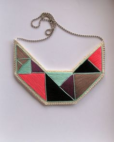 Embroidered geometric bib necklace in mint green purple black gray and pink