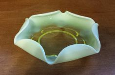 Duncan & Miller Opalescent Canterbury Vaseline Glass Bowl by KatsVintageTreasures on Etsy