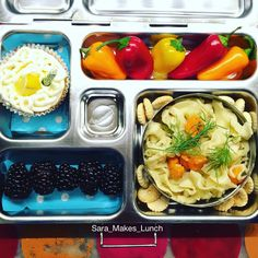 Tuesday's @planetbox lunch includes homemade, organic chicken noodle soup with fresh dill on top, a few oyster crackers, blackberries, sweet peppers, and one of the lemonade cupcakes we made this weekend. Happy packing, friends! #healthylunch #bento #eattherainbow #planetbox #organic #healthykids #justeatrealfood #packedlunch #momlife #parenting #schoollunch #cleaneats  #eatyourveggies  #realfood #nutrition #healthylife #Lunchideas #Superfoods #Lunchbox #Healthyfamily #wholefoods #kidslunch…