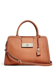 f21e503d58df Kyra Crocodile-Embossed Satchel at Guess