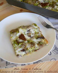 lasagna di grano arso con zucchine e radicchio