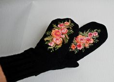 Black Knitted Wool Mittens Christmas gift Women by MySunsetColor
