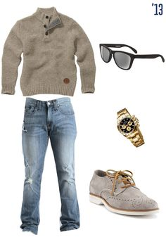 Guy's beige knit sweater, distressed jeans, rolex watch, sunglasses, and sperry made shoes. #dapper #stylish #mens #fashion #trend