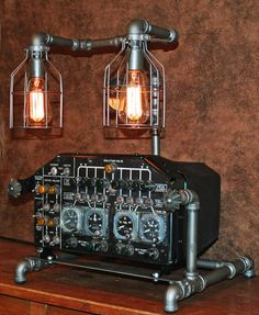 Steampunk Lamp, Aviation, Machine Age Lamp #3 - SOLD