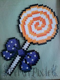 Pumpkin Lollipop perler beads by PerlerPixie on deviantART
