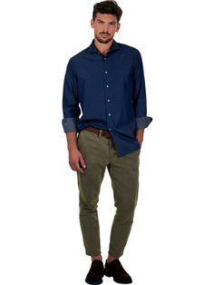 Shirt in blue denim fabric with elegant and sporty style Delsiena