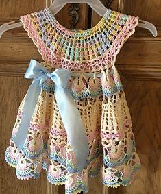 Ravelry: Baby fantail summer dress pattern by Halina Matson Baby Summer Dresses, Summer Dress Patterns, Baby Dress, Girls Dresses, Ravelry Crochet, Thread Crochet, Grandchildren, Dress Skirt, Infant