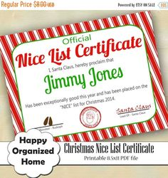 30% OFF SALE Printable Santa's Nice List Certificate DIY Letter from Santa Nice List Certificate Christmas Personalized Santa Letter Stockin