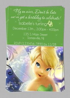 Custom Tinkerbell Fairies Birthday Party Invitations