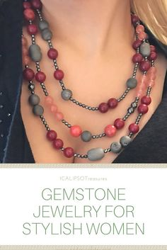 An appealing red necklace with root of ruby, hematite and rose quartz, the perfect Christmas gift for her. Visit the website to see more: https://www.etsy.com/it/listing/491818349/collana-multifilo-collana-pietre-dure