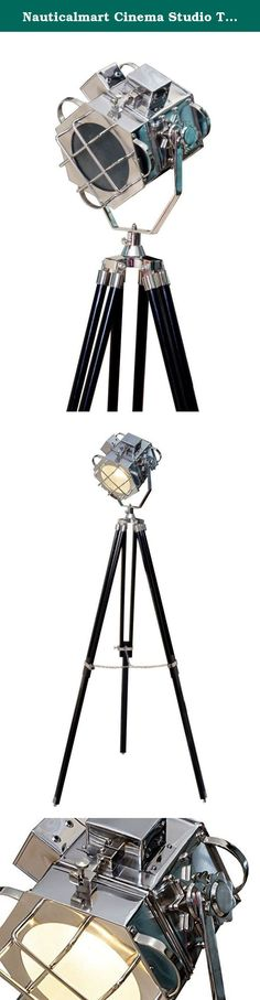 Nauticalmart Cinema Studio Tripod Floor Lamp - 1940's Hand Made Replica. NAUTICALMART tripod floor lamps are hand made replicas of designs from the early to mid 20th century and inspired by the classic golden of Hollywood. Originally used to light up the famous celebrities and movie sets during 40's and 50's. Today they are on interior decorators top 10 list as a trendy accent for home offices, media rooms, yacht clubs, man caves and themed restaurants.• Tripod color:EXPRESSO • Materials:...