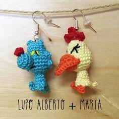 Orecchini uncinetto amigurumi Lupo Alberto & Marta : Orecchini di mrs-poppy