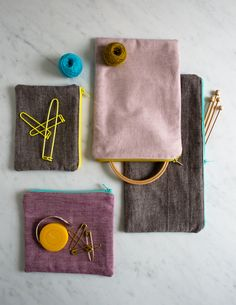 Molly's Sketchbook: Simple Lined Zipper Pouches - The Purl Bee - Knitting Crochet Sewing Embroidery Crafts Patterns and Ideas!