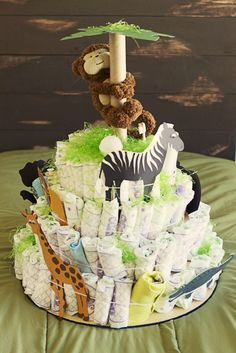 Diaper Tree made by Tyson French. So easy and cute for baby showers!
