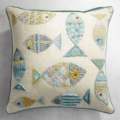 Embroidered Swimming Fish Pillow Source by Patchwork Cushion, Quilted Pillow, Cushion Fabric, Embroidered Pillows, Hand Embroidery, Machine Embroidery, Pillow Embroidery, Fabric Fish, Fish Pillow