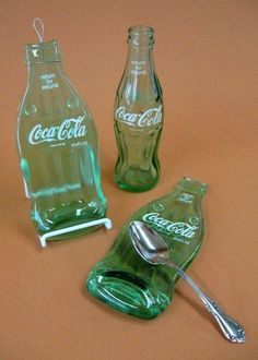 Melted bottle recycled into spoon rest.                                                                                                                                                                                 More
