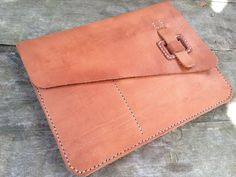 iPad Case Natural Leather - Handmade - case / briefcase / clutch  w/ iPhone pocket