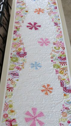 Spring Quilted Table Runner Perfect for Easter with Appliqued Square Flowers in Pinks, Orange, Blues, Raspberry and White
