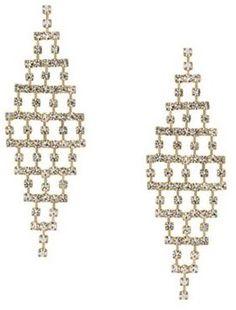 Red Herring Diamante crystal grid chandelier earring
