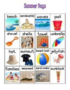Free! Summer Vocabulary...June/July themed vocabulary words chart for your writing station or display. 16 pictures of summer related words with labels